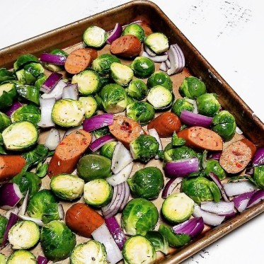 sheet-pan sausage and brussels